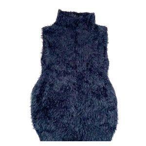 EUC furry black sleeveless sweater from Express